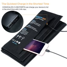 Mobile phone folding solar charger 4335013721 folded 11.4 * 6.3 inches; spread 27.5 inches Black 21W Flexible panel