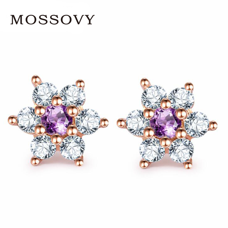 Mossovy Charms Zircon Stud Earring Fashion Jewelry for Women Flower Earrings  Bridesmaid Gifts for Women Accessories 2eddd892a51a