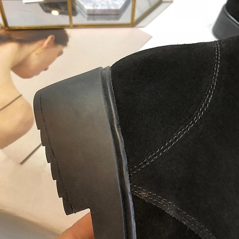 Cuir Mi Bottes Chaudes Chaussures Appartements Razamaza Noir Lanières Neige Peluche Véritable En bleu 40 rose Femmes À mollet Ajouter Fourrure 33 D'hiver Taille 0AqAO