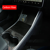 3Pcs/set Real Carbon Fiber Car Center Console Storage Box Cover Stickers For Tesla MODEL 3 Interior Decoration Protector Sticker