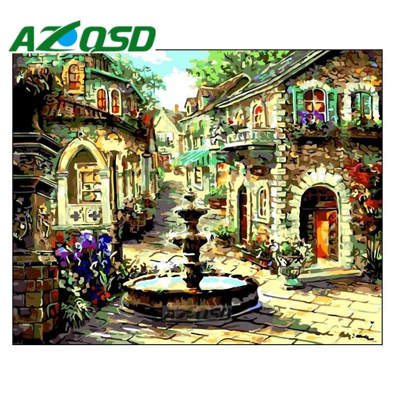 AZQSD Paint By Numbers On Canvas Beautiful Fountain Frameless 40x50cm Acrylic Modular Digital Oil Painting Home