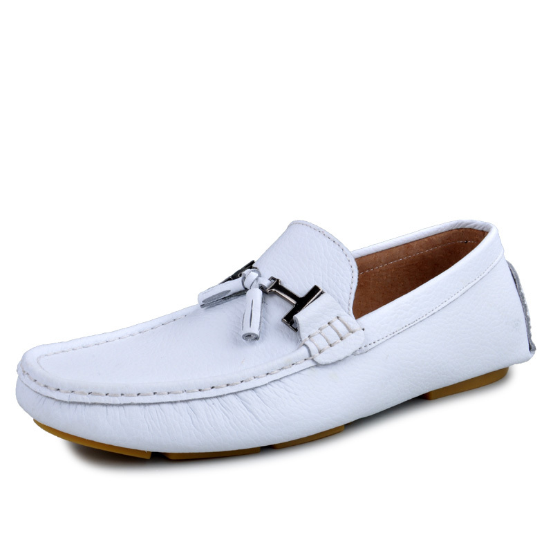 2013 fashion male genuine leather loafers gommini breathable white casual small leather fashion foot wrapping shoes lazy