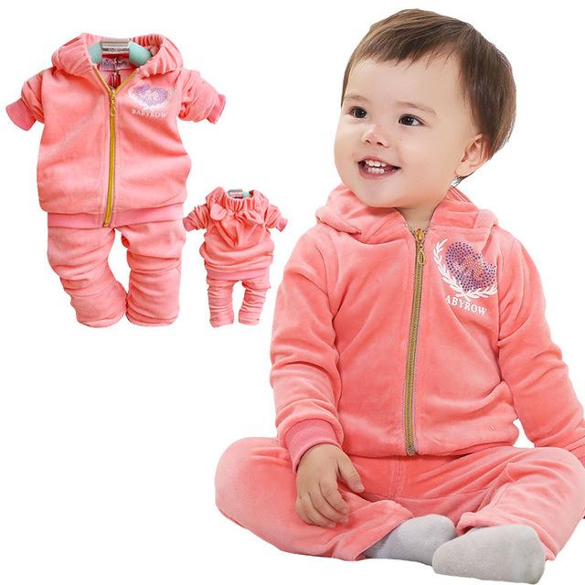 Anlencool Promoción Envío Gratis Plantean Bebés Modelos Buck Valle de Las Niñas Trajes de Alta Calidad de Terciopelo Con Capucha Bebé Ropa de La Muchacha