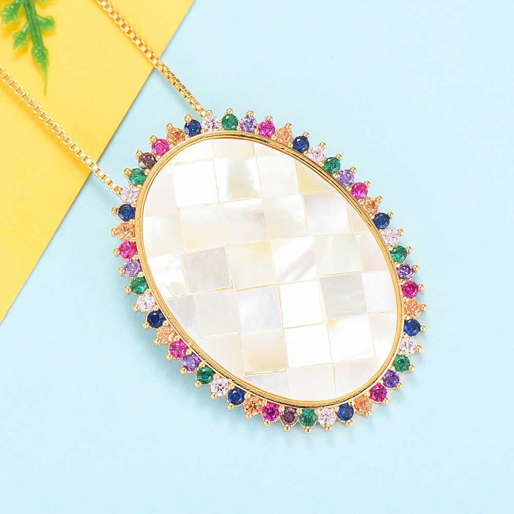 GODKI à la mode grand ovale charmes collier pendentif pour les femmes de mariage nuptiale cubique Zircon Shell Dubai fête de mariage bijoux BOHO2019