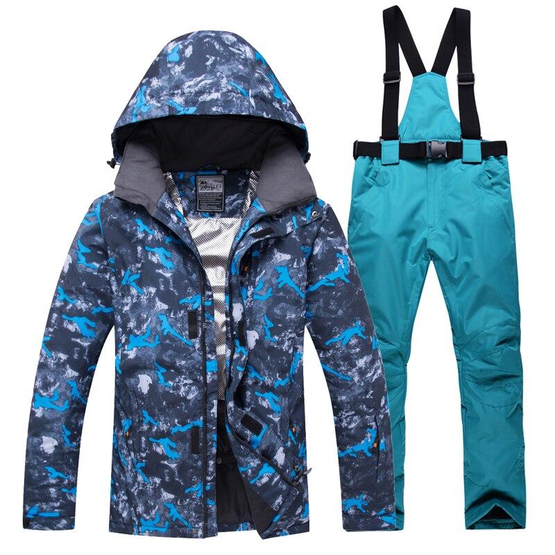 2018 nouveau costume de Ski d'hiver hommes ensemble coupe-vent imperméable à l'eau chaud Ski snowboard costumes ensemble mâle extérieur chaud veste de Ski + pantalon - 4