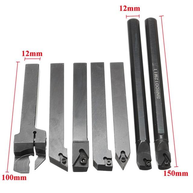 DANIU 7Pcs/set 12mm Shank Lathe Set Boring Bar Turning Tool Holder Kit + 7pcs Carbide Inserts+7pcs T8 Wrenches for Machine Tool