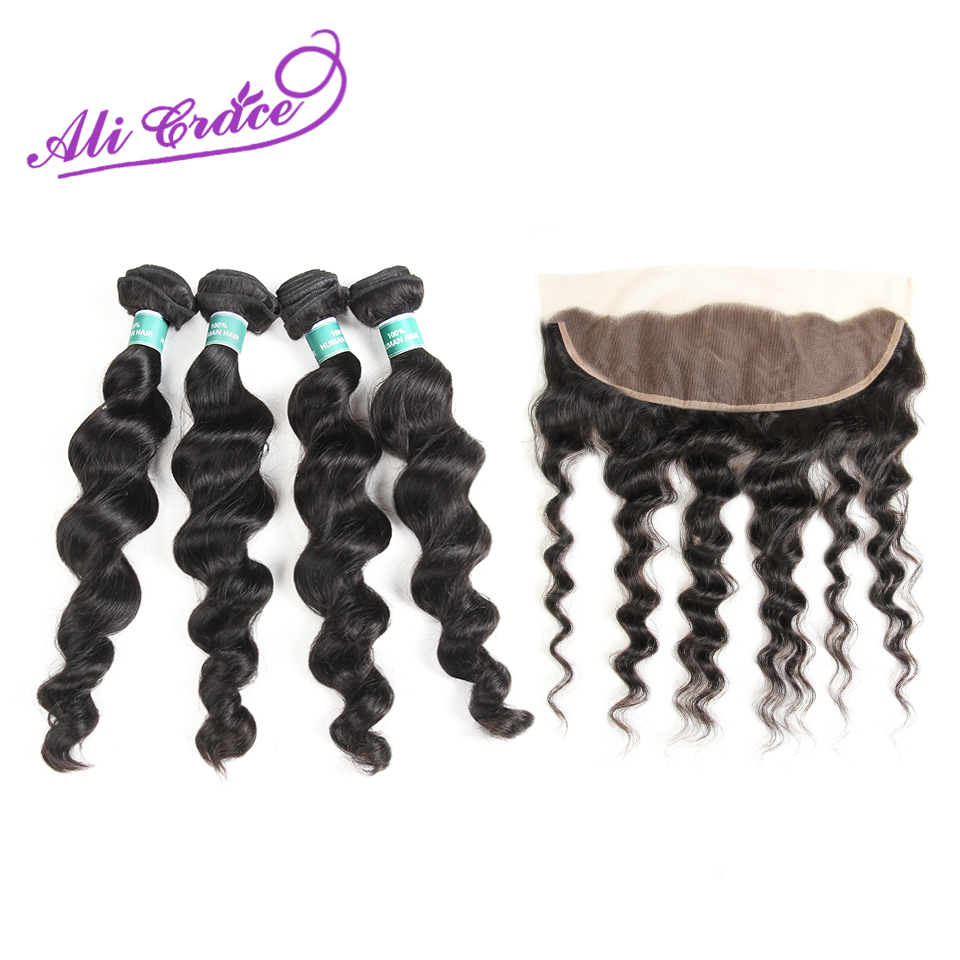 Ali Grace Peruvian Loose Wave With Lace Frontal 100 Remy Human Hair 4 Bundles With 13