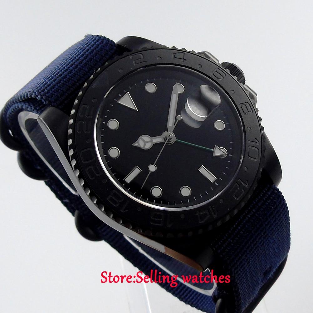 40mm parnis black GMT ceramic bezel PVD sapphire crystal automatic mens watch все цены