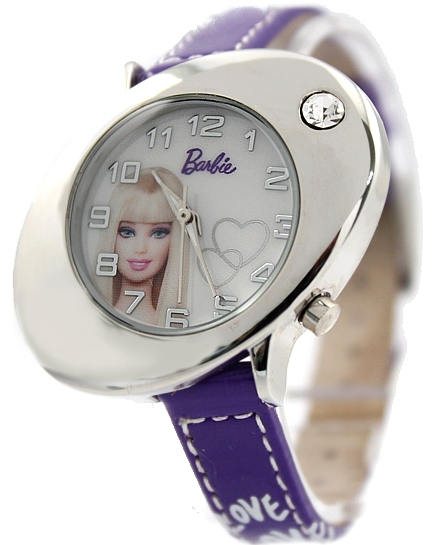 New Violet Band Elliptic PNP Shiny Silver Watchcase Children Watch KW053B