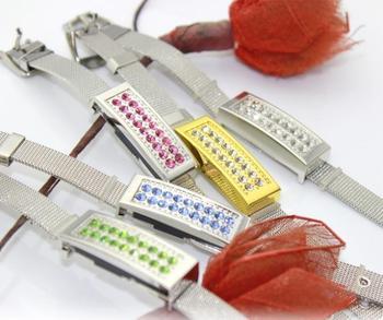 Wholesale Crystal Bracelet Pen Drive Usb Flash Drive 8GB 16GB 32GB 64GB Jewelry USB Flash Memory Card Stick Disk On Key Gift