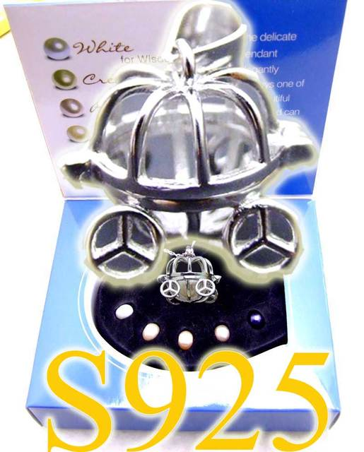 """Popular Gift One Box Big 15mm Carriage Sterling Silver S925 pendant 16"""" Necklace Wish Pearl set  A wish waiting come true-3628"""