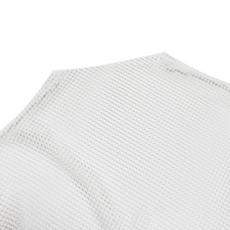 Wanita Fishnet Leher Tinggi Tops Lengan Panjang Lihat-t-shirt Tops - Pakaian wanita - Foto 5