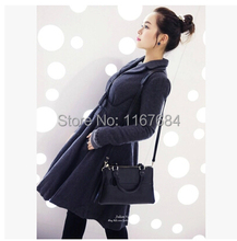 Hot sale new 2016 South Korean women's brand fashion Large waist skirt long section of woolen coat jacket