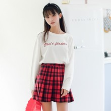 2017 new mori girl Sweet letter embroidery long-sleeve T-shirt back lacing female solid color basic shirt top autumn