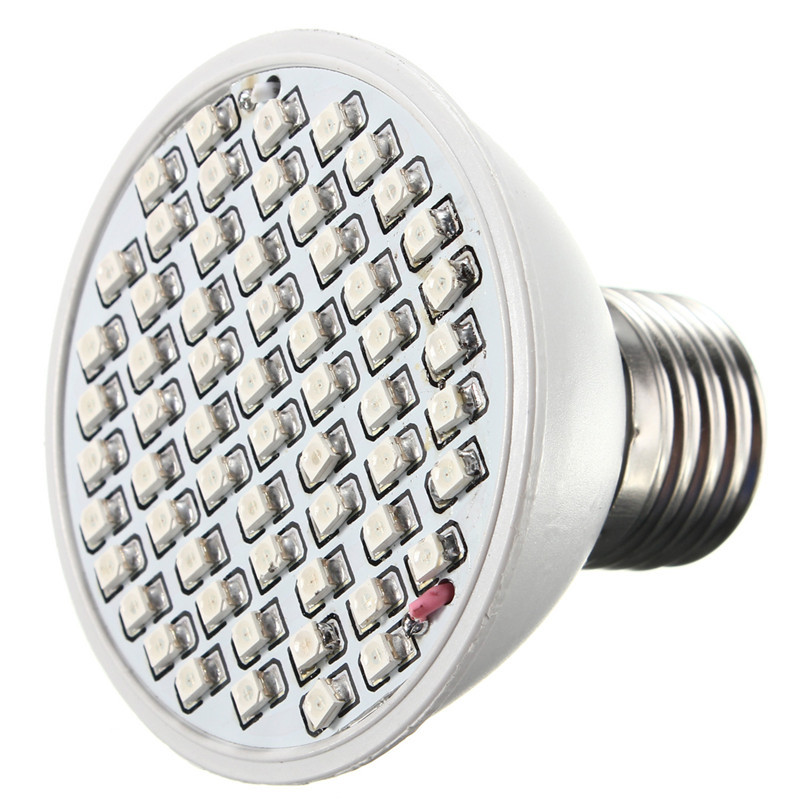 LED Grow Light 4W E27 ZW002 60 3528 SMD Red Blue Flowering Plant Lamp Garden Indoor Lighting 60Leds Bulb AC85-265V ...