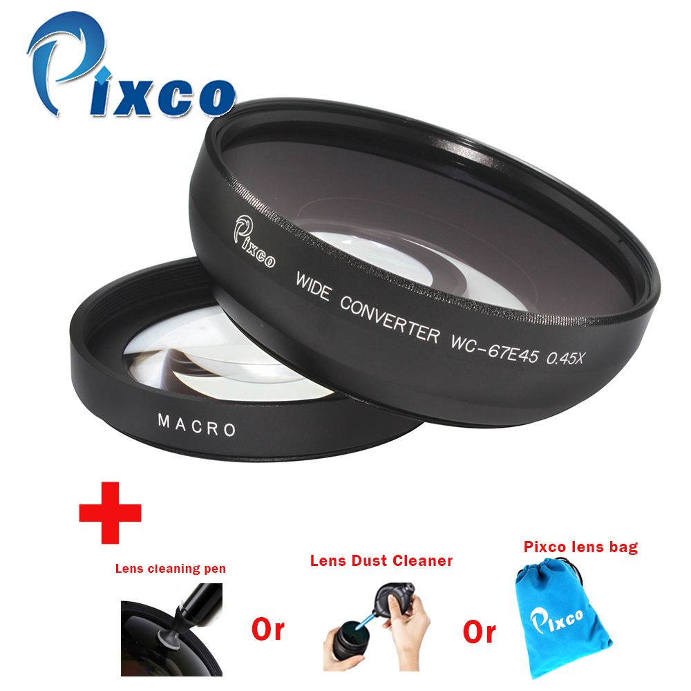 Professional 67mm 0.45X Wide Angle Lens with Macro Suit For Canon+Lens cleaning pen or Lens Dust Cleaner or Lens bag professional 67mm 0 45x wide angle lens with macro suit for canon nikon sony camera with lens wrist strap