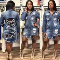 2018 New Fashion Denim Jackets for Women Vintage Casual Coat Female Jean Outerwear Women Coats Broken Hole Plus Size
