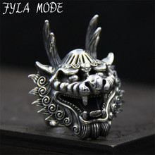 FYLA MODE Dragon Head Rings For Men Punk Rock Style 100% Sterling Silver Finger Rings Party Jewelry 38mm Width 29.70G PBG055