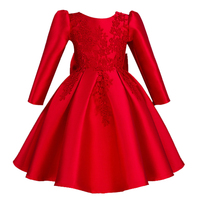 2017 Autumn Winter Wear Silk Red High Grade Dress For Baby Girl Gown Birthday Party Outfits
