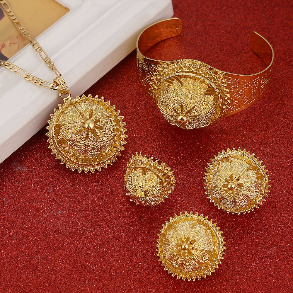 Ethiopian New Jewelry Sets Gold Color Eritrean Engagement Bride Wedding Habesha Luxury Jewelry Africa Sudan