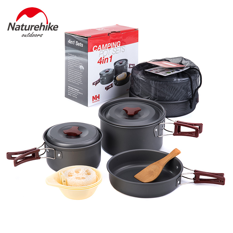 NatureHike Outdoor Tableware Camping Hiking Cookware Tableware Picnic Backpacking Cooking Bowl Pot Pan Cooker Set 4Pcs In One boundless voyage 2 pcs lot titanium bowl pot set with folding handle outdoor camping picnic pan ultralight cooking tableware