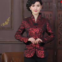 Stylish Burgundy Traditional Chinese Women's Jacket Sexy Charming Coat Vintage Tang Suit Flower Size M To XXXL