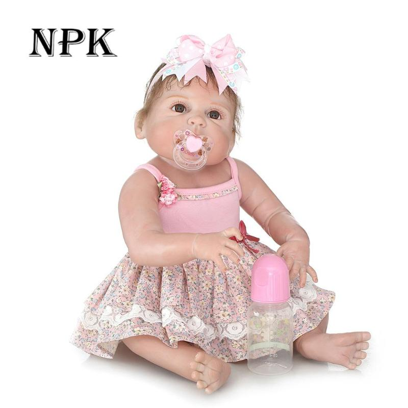 Lifelike 23 Inch Soft Silicone Reborn Baby Doll Real Like Smiling Bonecas Reborn 57 cm Girl Doll Toy Fashion Birthday Xmas Gift