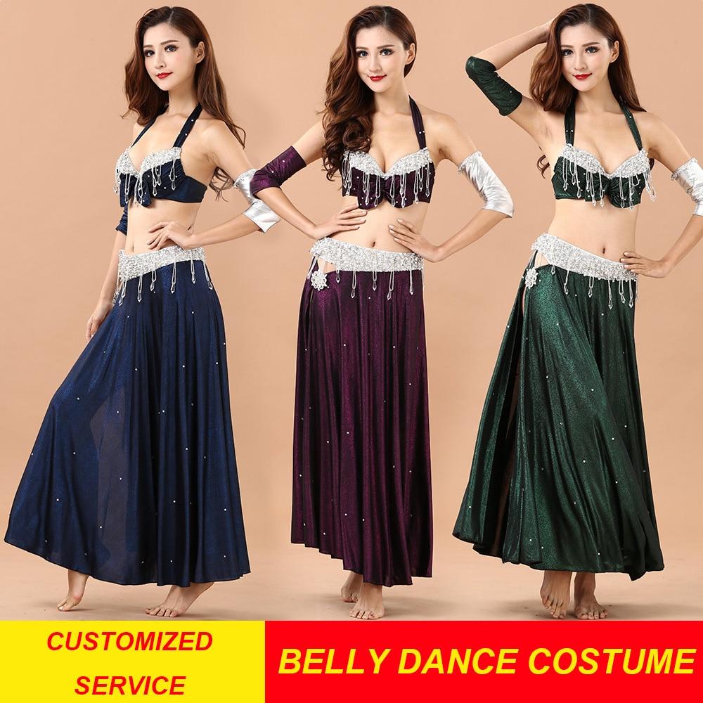 Performance 3 Colors Women Dancewear Professional Size S-L 4 pcs Outfit Bra Belt Skirt Long Oriental Beads Costume