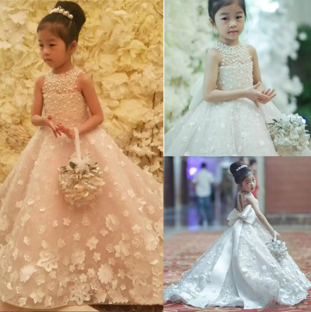 Luxury custom made Flower Girls Dresses pearls Bead Princess Kids Floor Length Bridesmaid Pageant Ball Gown with Bow Belt train