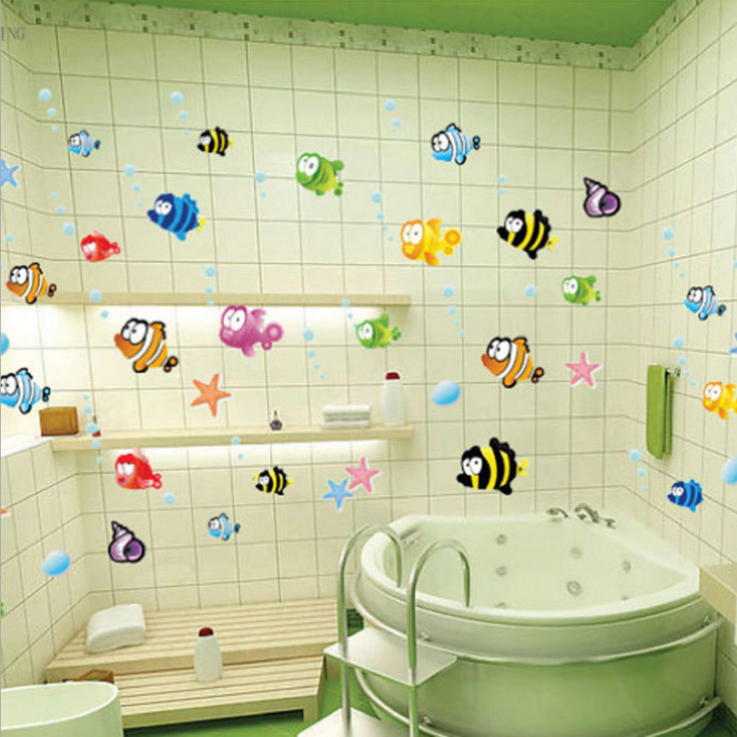 Hot Sale Waterproof Bathroom Tile Decor Sticker Cute Colorful Fishes Glass Wall Stickers Diy Mural Wall