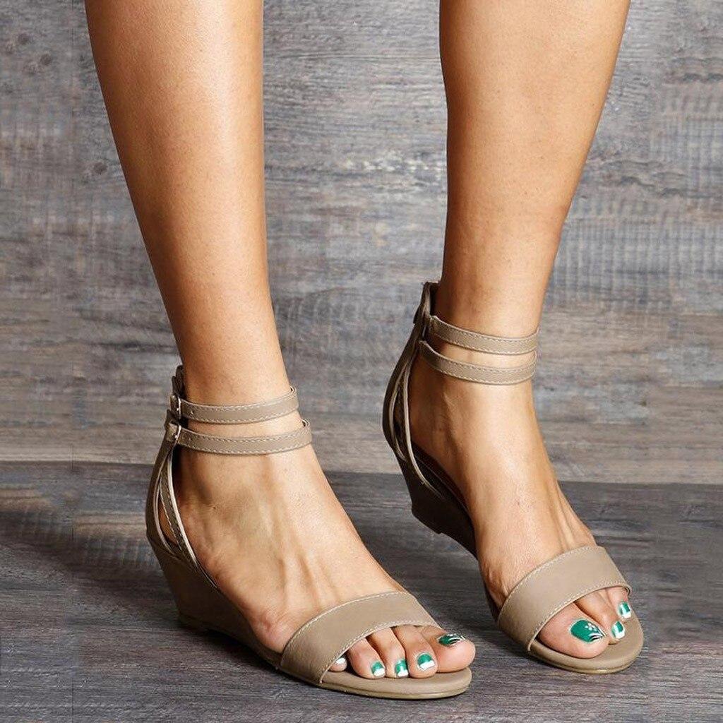 Shoes Woman Sandals Ankle-Strap Open-Toe Womens Casual Size-41 Plataform Con Zipper-Buckle