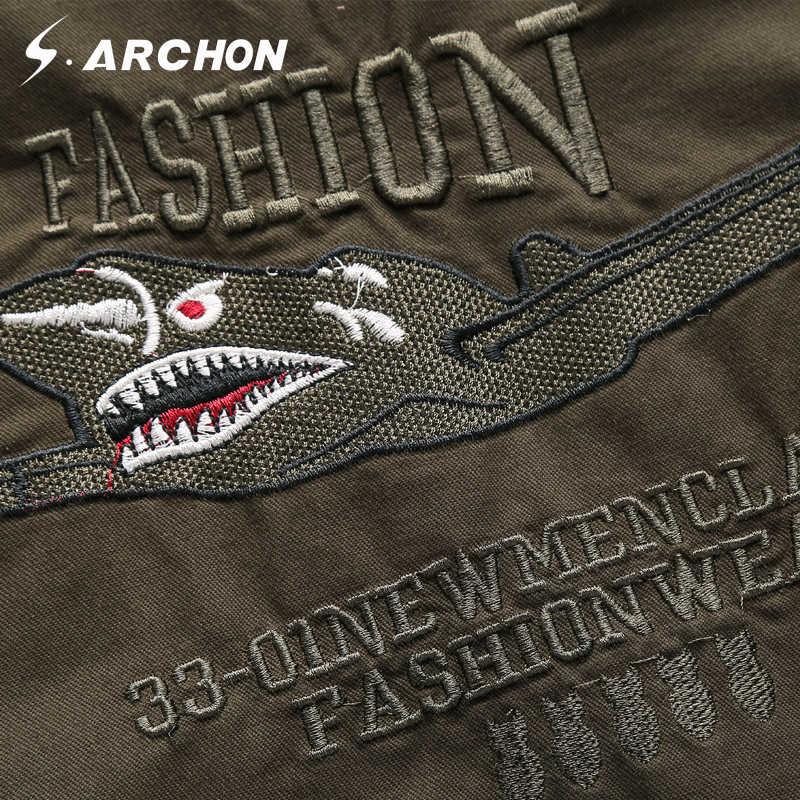 S. ARCHON US Airborne тактические куртки-бомберы Для мужчин осень ветровка Air Force верхняя одежда для детей куртки для мужчин, есть плюс размеры хлопковые военные летные куртки