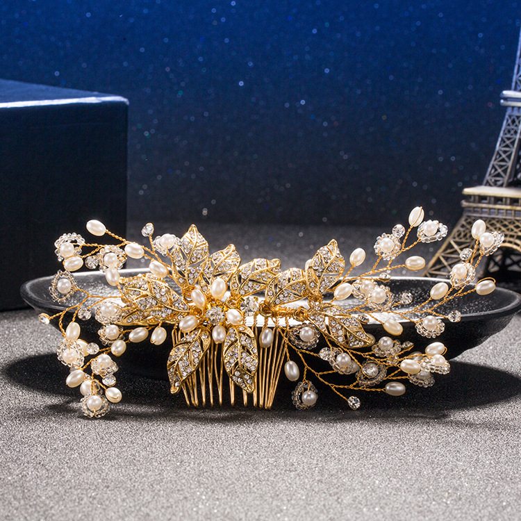 Luxury Bridal Tiara Big Pearl Flower Crystal Leaf Gold Hair Comb Wedding Shiny Bridesmaid Flower Wedding Accessories Bridal Clip