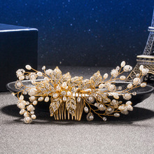 Luxury Bridal Tiara Big Pearl Flower Crystal Leaf Gold Hair Comb Wedding Shiny Bridesmaid Accessories Clip