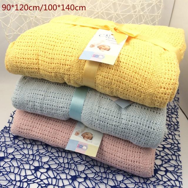 Новорожденных Детские Одеяла 100% Супер Мягкий Хлопок Крючком Летом Конфеты Цвет Опора Кроватки Повседневная Спальная Кровать Поставляет Отверстие Wrap