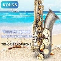 Латунь Bb тенор саксофон резной узор жемчужно белый Shell Кнопки духовой инструмент черный Никель Золотой тенор