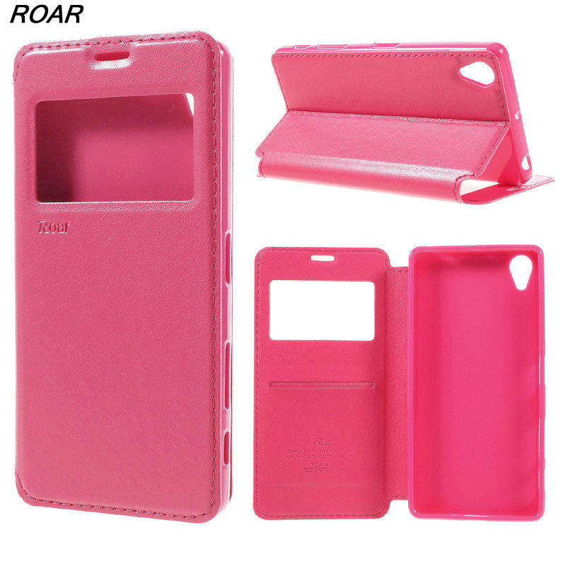 For Sony Xperia X Case Original ROAR <font><b>KOREA</b></font> Card Holder Leather View Window <font><b>Mobile</b></font> <font><b>Phone</b></font> Cover Case For Sony Xperia X F5122