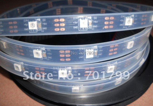 BLACK PCB 5m WS2811 LED digital strip,30leds/m with 30pcs WS2811 built-in the 5050 rgb led chip;waterproof in tube'DC5V input