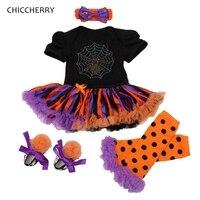 Rhinestone Spider Black Costume Halloween Enfant Lace Dress Leg Warmers Shoes Headband Newborn Tutu Sets Girls