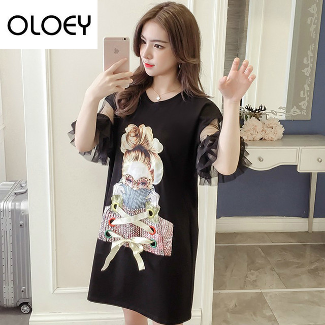 OLOEY 2018 Summer Loose Casual Big Size Character Cartoon Printing Lace  Mesh T Shirt Round Neck Women Woman T Shirt S758 58ce9154cef1