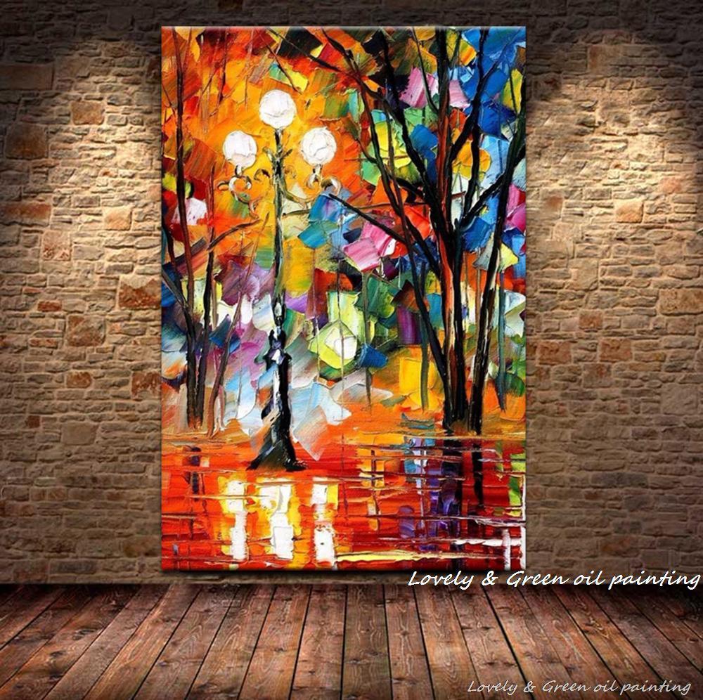 Livraison gratuite palette knife rue lampe paysage image 100 fait main abstrait moderne peinture à