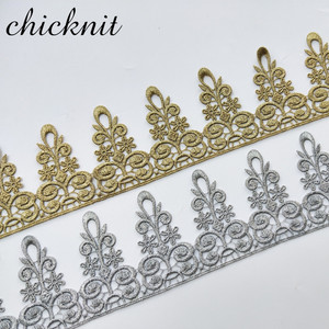 Image 5 - ASHION gold lace silver lace trim water soluble embroidery crown flower sewing lace fabric islamic headscarf hair accessories JB