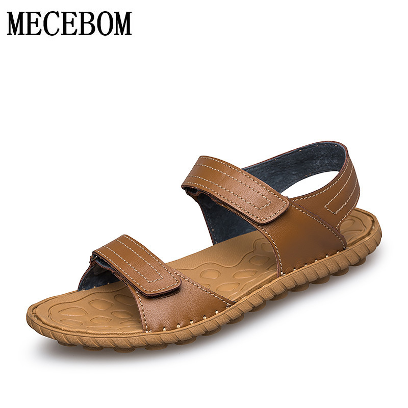 Summer men shoes genuine leather men's sandals plus size 37-45 men casual hook-loop shoes sandals quality zapatos 5005M