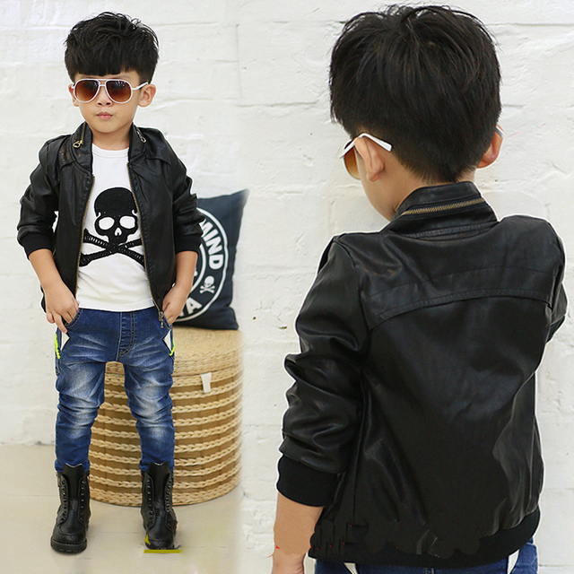 New 2014 Spring Fashion Boys Black Faux Leather Jackets Coat Childrens Brand Handsome Motorcycle PU