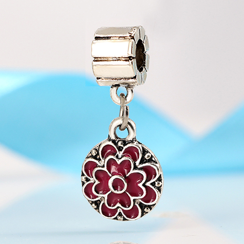 New Silver Plated Bead Charm Color Flower,Square Glazed Beads Fit Pandora Bracelets & Bangles For Women DIY Jewelry