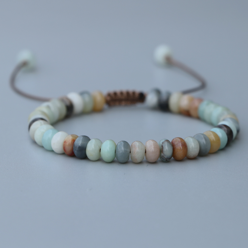 EDOTHALIA Lovely 4*6mm Abacus Beads Amazonite Stone Bead Bracelet For Women Girls Lucky Friendship Bracelet Jewelry