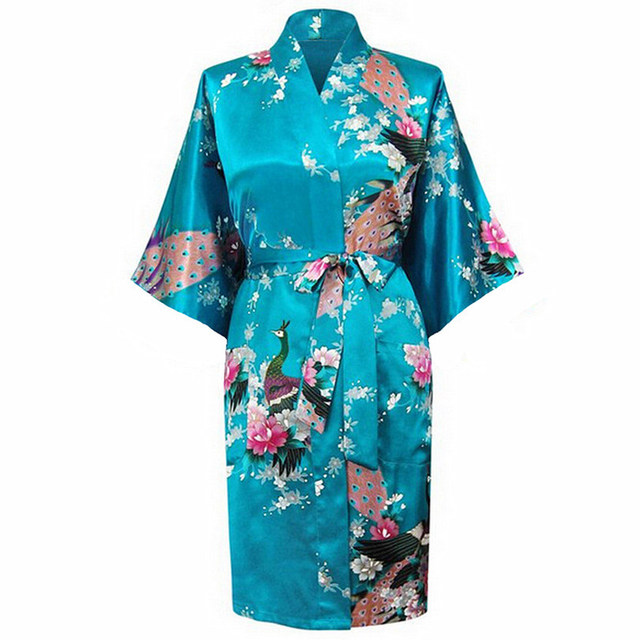 655c80661e Hot Sale Blue Female Satin Kimono Gown Classic Style Bathrobe Printed  Peacock Floral Sleepwear Size S M L XL