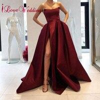 iLoveWedding Burgundy Prom Dresses 2018 Strapless A Line Stiff Satin Floor Length Elegant Split Prom Party Gown for Women