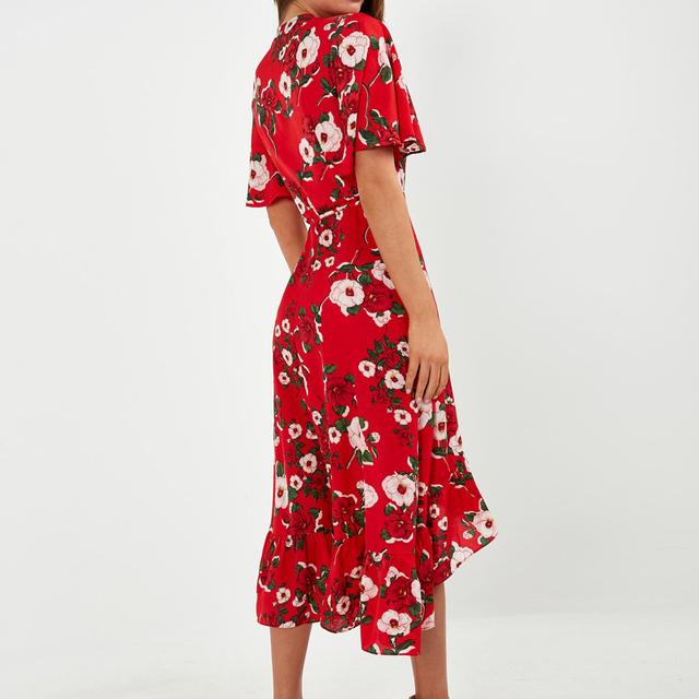 Floral Print Chiffon Beach Dress Sexy Slit V-Neck Wrap Party Long Dress Elegant Vintage Ruffles Casual Summer Dress