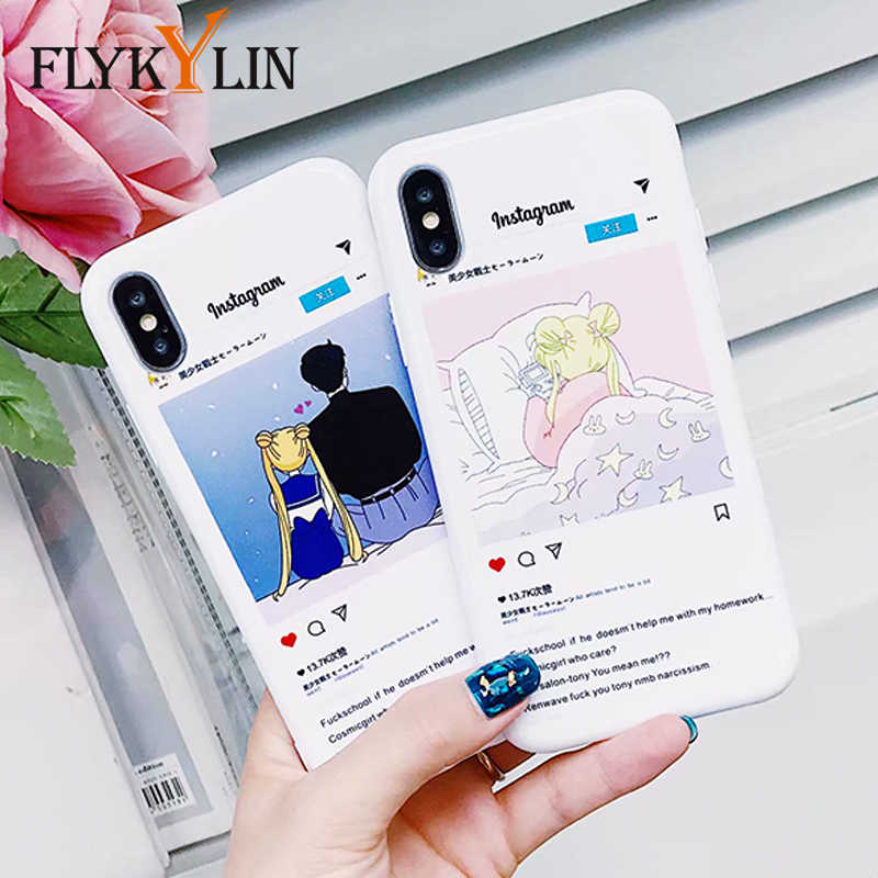 FLYKYLIN Casais Desenhos Animados Casos de Telefone Para O iphone Caso X Para iphone 6 S 6 7 8 Mais Cobertura Instagram Popular anime casos de Sailor Moon